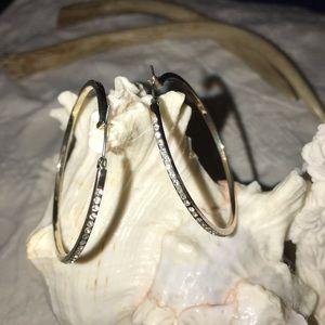 Jewelry - Silver Plated. Zirconia Classic Hoops Earrings